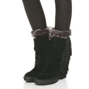 New Sam Edelman Tilden Faux Fur Fringed Boots 5.5